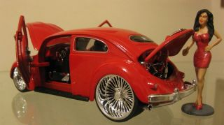 Maisto VW Beetle RARE Custom Lowrider Lamborghini Doors Dayton Wire Wheels 1 24