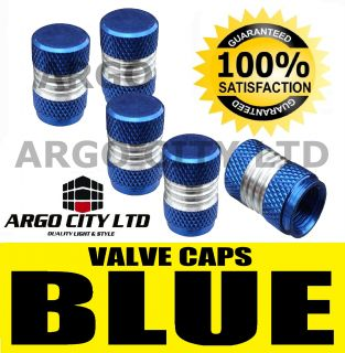Blue Chrome Valve Dust Tyre Wheel Caps Renault Clio 172 182 F1 Trophy