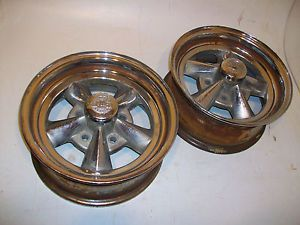2 RARE 14x6 Rocket Racing Wheels Chevy Olds Pontiac Buick GM Gasser Rat Rod