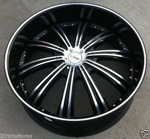 "24"" inch Wheels Rims Black DW909 6x139 7 30 Tahoe 2007 2008 2009 2010 2011 2012"