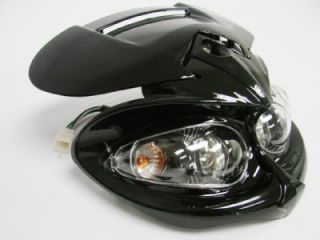 Black Streetfighter Stunt Head Light Fairing w Brackets for F4i zx6r Ninja CBR