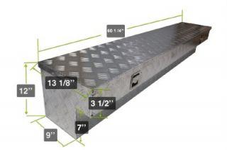 """60""""L Aluminum Pickup Truck Side Mount Tool Box Bed Rail Storage w Lock 2 Keys"""