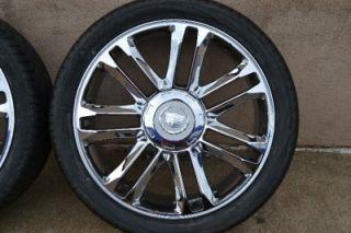 "New 24"" Cadillac Escalade Platinum Edition Chrome Wheels Rims Yokohama Tires"