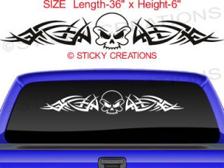 105 Skull Rear Window Decal Sticker Vinyl Tribal Car