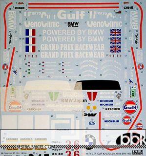 1 24 Full SPNSR Decal McLaren F1 GTR Gulf 24 25 LeMans 1 16 bpr 95 for Fujimi