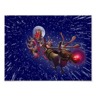 Flying Santa Claus & Rudolph, Red Nosed Reindeer Posters