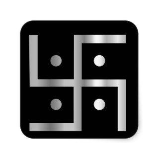 Symbol of Hinduism Swastika Square Stickers