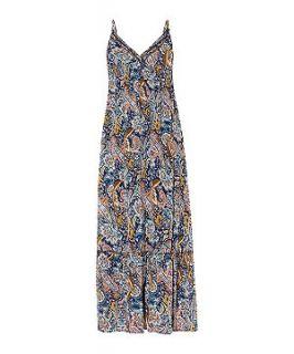 Mela Blue Paisley Print Strappy Maxi Dress
