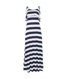 Te Amo Navy and White Stripe Maxi Dress