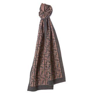 Fendi Grey/ Pink Zucca Knit Scarf Fendi Designer Scarves & Wraps