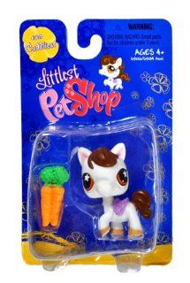 "Hasbro Year 2007 Littlest Pet Shop Single Pack ""Cuddliest"" Series Bobble Head Pet Figure Set #578   White PONY HORSE with ""Carrots"" (#65126) Toys & Games"