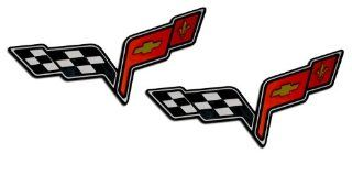 2x (pair/set) MEDIUM CROSSED FLAGS WINGS Fender Real Aluminum Auto Emblems Badges Nameplates for Chevrolet Corvette C6 05 06 07 08 09 10 11 12 13 2005 2006 2007 2008 2009 2010 2011 2012 2013 (any year model   Universal Fitment): Automotive