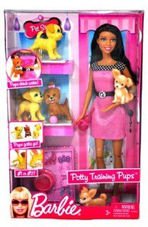 Barbie Year 2009 Fashionistas Series 12 Inch Doll Playset   POTTY TRAINING PUPS with Barbie Doll, 3 Puppies, 2 Piece of Color Change Newspaper, Dog Bowl, Assorted Collars and Toys for the Pups (African American Version R9515) Toys & Games