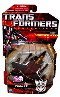 Hasbro Year 2009 Transformers Generations Series Deluxe Class 6 Inch Tall Robot Action Figure   Decepticon THRUST with Twin Cannon Missile Launchers with 2 Missiles (Vehicle Mode Fighter Jet) Toys & Games