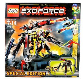 Lego Year 2007 Special Edition Exo Force Series Mecha Vehicle Figure Set # 7721   COMBAT CRAWLER X2 with Detachable Battle Machine, Clawed Legs, Prison Capture Cage and Powerful Firing Cannon Plus Ryo Minifigure with Missile Launching Strike Flyer and Spec