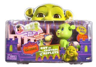 MGA Entertainment Year 2007 Dreamworks Shrek Out of Control Triplets Series 4 Inch Long Silly Baby Ogre with Talk and Motion Figure   Pink Diaper Baby Girl with Wiggling Ears, Baby Crib and Baby Bottle: Toys & Games