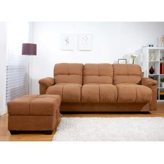 Multifunctional Microsuede Sofa Bed and Ottoman Set Sofas & Loveseats