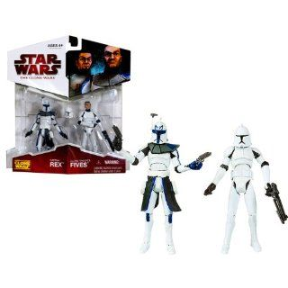 "Hasbro Year 2009 Star Wars ""The Clone Wars"" Exclusive Animated Series 2 Pack 4 Inch Tall Action Figure   Captain REX with Removable Helmet and 2 Blaster Pistols Plus Clone Trooper FIVES with Removable Helmet and Blaster Rifle: Toys & Games"