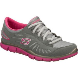 Women's Skechers Gratis Messengers Gray/Pink Skechers Sneakers