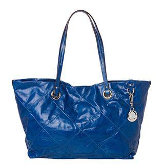 Moncler 'Adelaide' Blue Leather Stitched Tote Bag Designer Handbags