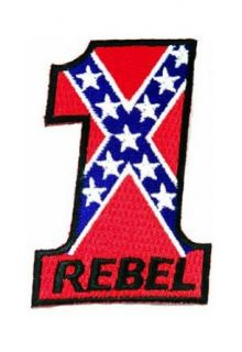 Rebel #1 Embroidered Patch Confederate Flag Iron On Number One Emblem: Clothing