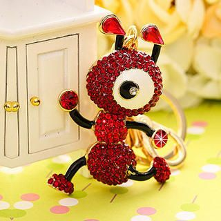 Rhinestone Ant Keychain, Red & Gold , One Size   Miss Girl