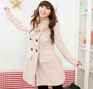 Set: Double Breasted Coat + Faux Shearling Neckwarmer, Pink , One Size   59 Seconds
