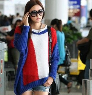 Wool Blend Color Block Oversized Sweater, Blue, Red and White , One Size   SO Central