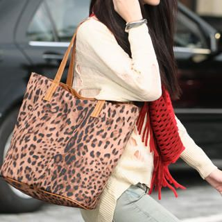Set: Leopard Print Open Top Tote + Shoulder Bag, Brown , One Size   SO Central