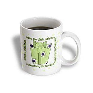 3dRose Green Number One Mom for Mothers Day Ceramic Mug, 11 Ounce Kitchen & Dining