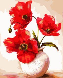 Poppies in Vase Acrylic (2013 New DIY paint by number 16*20'' kit)