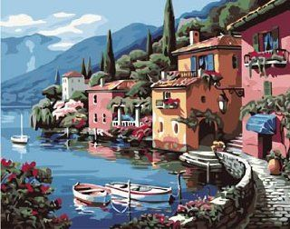 The Lake Villa acrylic (2013 New DIY paint by number 16*20'' kit) Arts, Crafts & Sewing