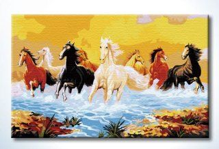"""DiyOilPaintings Paintworks, Paint By Numbers Kits, 20""""x31.50"""", Eight Horses Paint By Numbers Kits Masterpieces"""