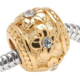 22K Gold Plated Large Hole Barrel Bead Flowers Adorned With SWAROVSKI ELEMENTS Crystals (1) Home & Kitchen