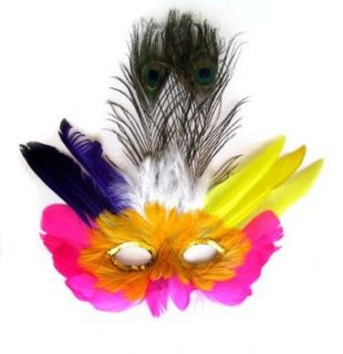 SACAS Hot Pink Orange Yellow Peacock Feather For MASK Mardi Gras costume: Clothing