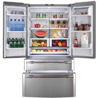 Haier Energy Star Refrigerator French Door Counter Depth 21 Cu Ft, Stainless Steel   RBFS21TIAS: Appliances