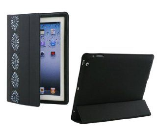 Mothers Day Gift Smart Black Leather Ipad Cover Flip Case Stand 360 Degree Rotating Tribal Warli Art Computers & Accessories