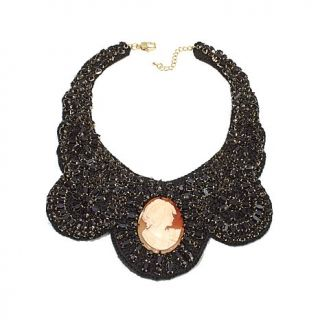 "AMEDEO NYC® ""Uncinetto"" 50mm Cameo Crocheted Black Bead Bib Necklace"
