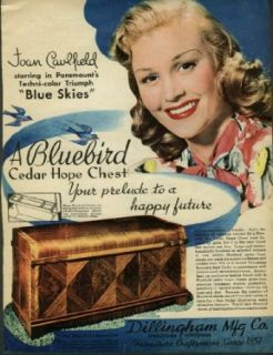 Joan Caulfield in Blue Skies for Bluebird Cedar Hope Chest ad 1946 Collectibles & Fine Art