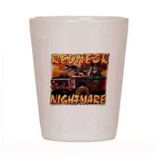 Shot Glass White of Redneck Nightmare Rebel Confederate Flag : Everything Else