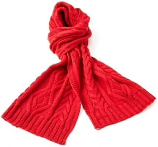 Isotoner Women's Irish Cable Scarf, Red, One Size at  Women�s Clothing store