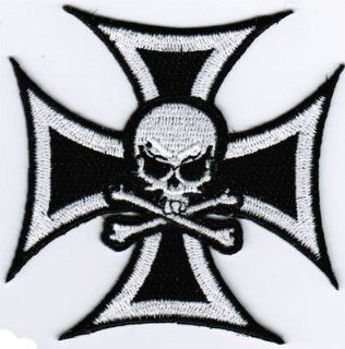 Iron Cross With Skull & Cross Bones Motorcycle Embroidered NEW Biker Vest Patch!: Everything Else
