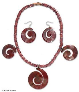 Copper jewelry set, 'Spirals'   Artisan Crafted Copper Necklace and Earrings Jewelry Set