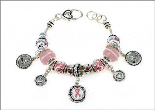 Pandora Style Silvertone Breast Cancer Support Multi Bead Lobster Clasp Bracelet W/Pink Ribbon Charm: Everything Else