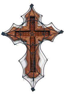 "20"" Wood And Metal Barbed Wire Cross, Rustic, Western, Wall Art, Metal Art   Wall Sculptures"