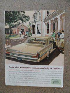 1962 Pontiac Bonneville, Vintage 60's full page print ad. (gold car)Original vintage 1962 The Saturday Evening Post Magazine Print Art.