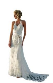 Biggoldapple Sheath/Column Halter Chapel Train Wedding Dress With Applique Ivory at  Women�s Clothing store