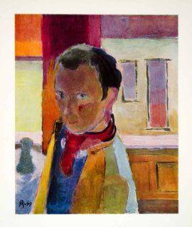 1949 Print Oddvar Alstad Self Portrait Figure Figurative Norwegian Art Norway   Original Print