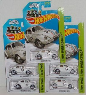 2014 Hot Wheels Hw Workshop   Volkswagen Beetle Herbie The Love Bug Lot of 5 Toys & Games