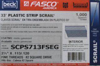 Fasco SCPS713FSEG 2 1/4 inch .113 Electro Galvanized Fine Thread Square Head Scrail Fastener, 1000 Per Box